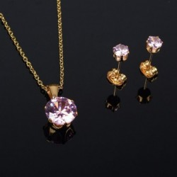 pink zircon gold necklace /...